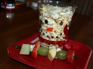 Snowman Popcorn Cups and Fruit Kabobs
